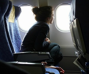 alone, girl, and plane image