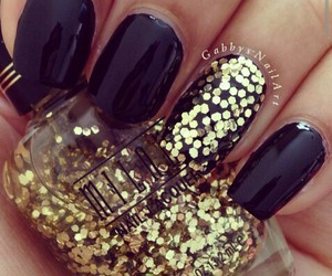 beautiful, black, and glitter image
