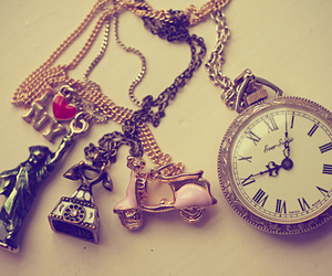 chain, clock, and vintage image