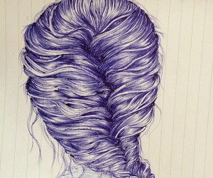 art, ballpoint pen, and braid image