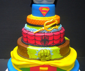 cake, spiderman, and superman image