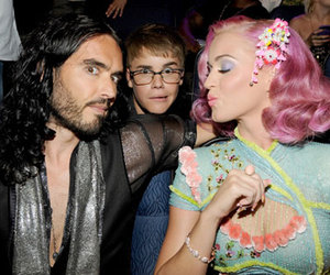 justin bieber, katy perry, and russel brand image
