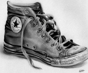 black and white, converse, and drawing image
