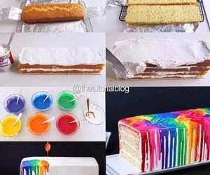 cake, diy, and rainbow image