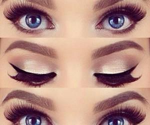beautiful eyes, cosmetics, and make up image