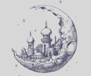 moon, city, and art image