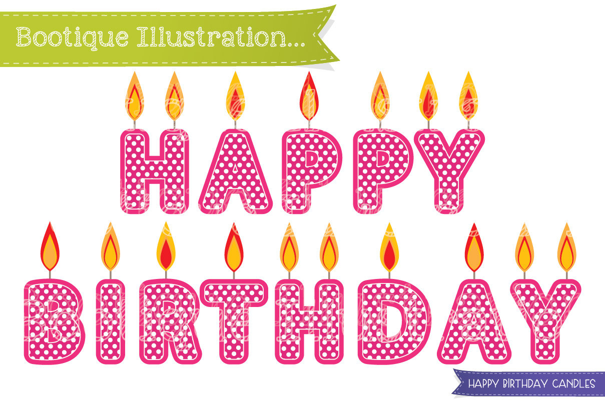 Happy Birthday Candles Clipart By Bootique Illustration