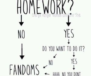 fandom, homework, and funny image