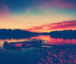 sky, sunset, and lake image