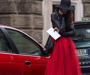 red, fashion, and skirt image