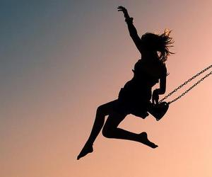 girl, swing, and freedom image