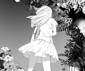 flowers, girl, and monochrome image