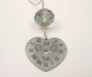 crystal necklace, steampunk jewelry, and heart clock necklace image
