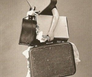 vintage, black and white, and suitcase image