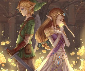 link, zelda, and couple image