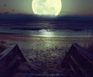 moon, sea, and stairs image