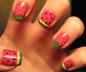 nails, watermelon, and strawberry image
