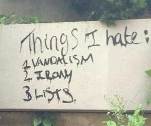 irony, vandalism, and list image