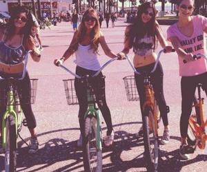 girl, friends, and bike image