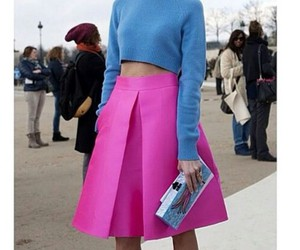 clutch, paris, and hot pink skirts image