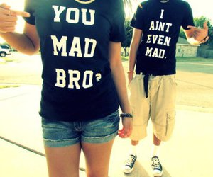 couple, you mad bro, and shirt image