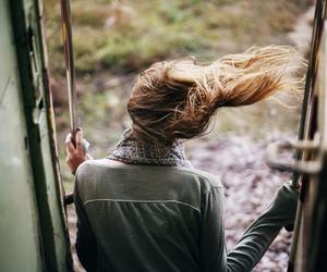 girl, hair, and train image