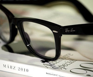 glasses, ray ban, and book image
