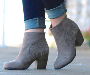 booties, shoes, and taupe image