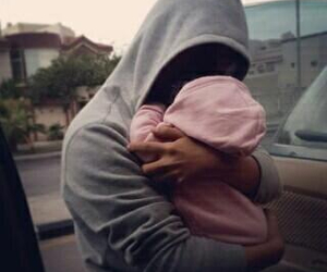 baby, dad, and pink image