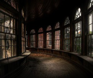 abandoned, architecture, and corridor image