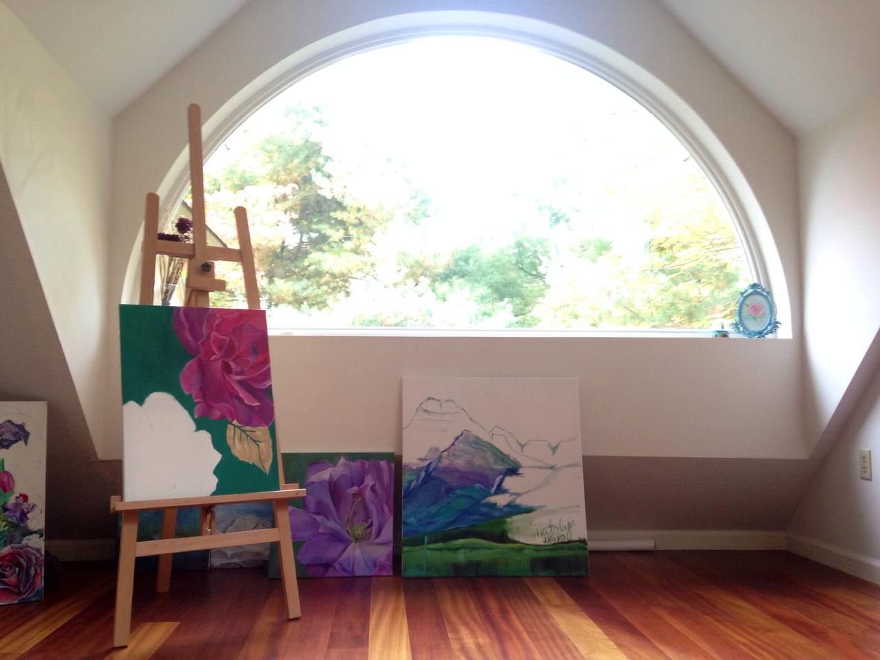 art studio, easel, and art image