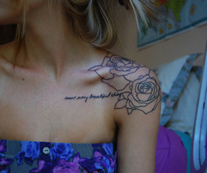blond, girl, and rose image
