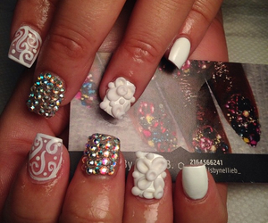 nails, negative space, and rhinestones image