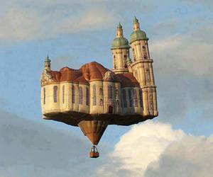 sky, castle, and balloons image