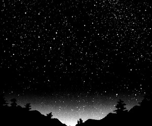 stars, black and white, and night image