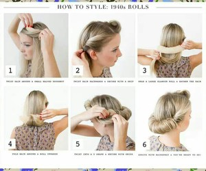 vintage hair, vintage hairdo, and 1940's hair roll image