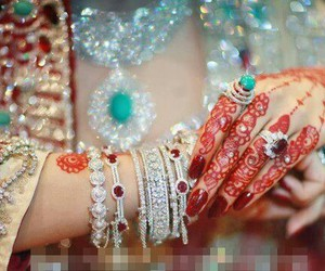 bride, indian, and mehandi image