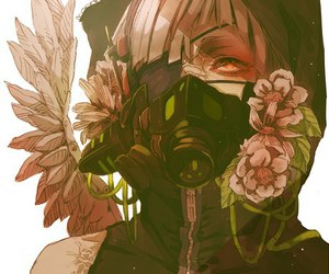 anime, flowers, and mask image