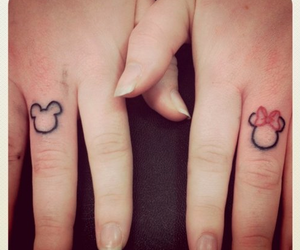 mickey mouse, finger tattoo, and mickey and minnie image