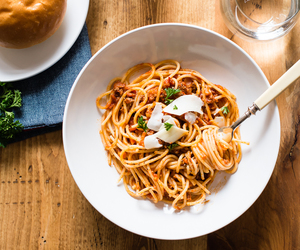 beef, meat, and pasta image