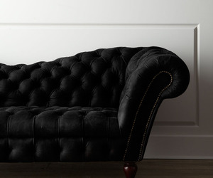 black, couch, and interior design image