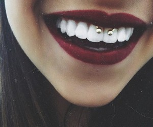 piercing, smile, and lips image