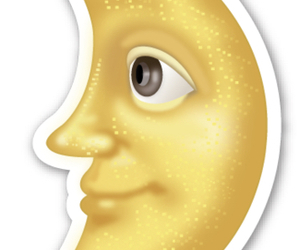 moon, emoji, and yellow image