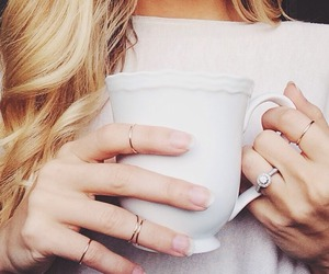 coffee, rings, and blonde image