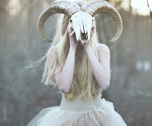 girl, dress, and skull image