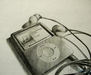 music, drawing, and ipod image