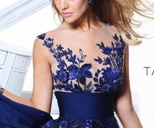 evening dress, long prom dress, and lace evening dress image