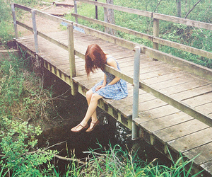 girl, bridge, and dress image