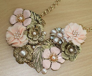 necklace, flowers, and pearls image