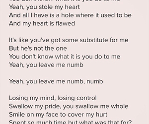 Lyrics, nick jonas, and NUMB image